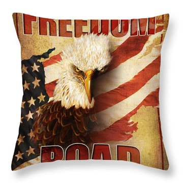 Freedom Road Sign Throw Pillow by JQ Licensing