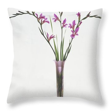 Freesias In Vase Throw Pillow