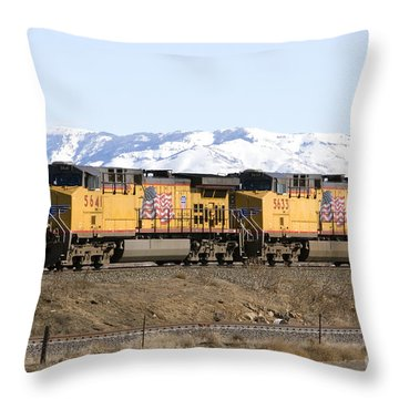 Freight Train East Of Boise Throw Pillow by David R Frazier and Photo Researchers