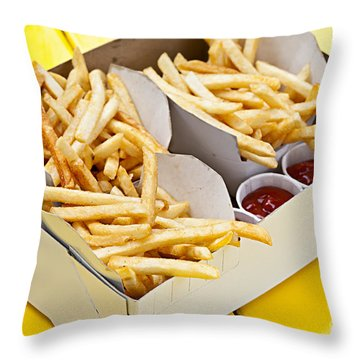 French Fries In Box Throw Pillow by Elena Elisseeva