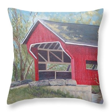 French Lick Covered Bridge Throw Pillow by Julie Cranfill