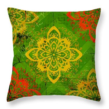 French Medallions Throw Pillow by Bonnie Bruno