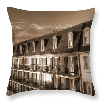 French Quarter Balconies Sepia Throw Pillow