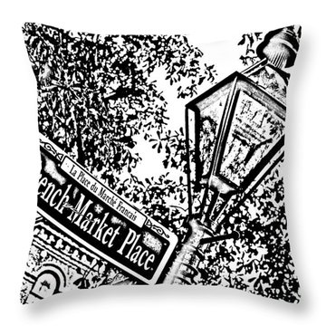 French Quarter French Market Street Sign New Orleans Photocopy Digital Art Throw Pillow by Shawn O'Brien