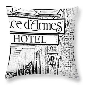 French Quarter Place Darmes Hotel Sign And Gas Lamps New Orleans Photocopy Digital Art Throw Pillow by Shawn O'Brien