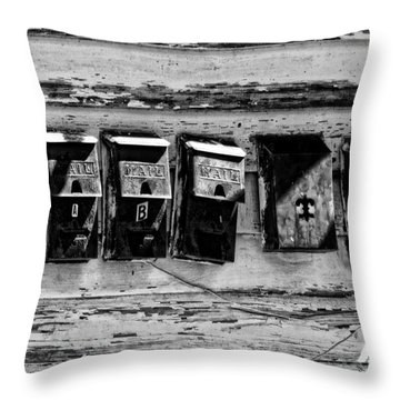Freret Street Mailboxes - Black And White -nola Throw Pillow by Kathleen K Parker