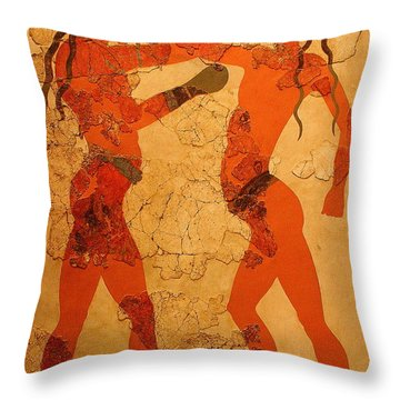Fresco Of Boxing Children Throw Pillow by Laurel Talabere