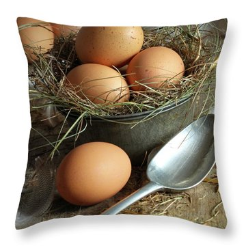 Fresh Brown Eggs In Old Tin Container With Spoon  Throw Pillow by Sandra Cunningham