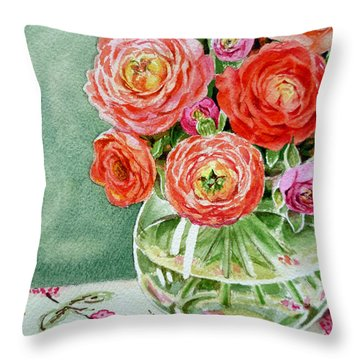 Fresh Cut Flowers Throw Pillow by Irina Sztukowski