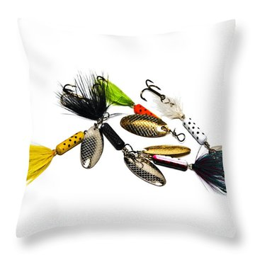 Throw Pillow featuring the photograph Freshwater Fishing Lures by Susan Leggett
