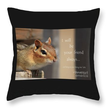 Friend For Peanuts Throw Pillow by Cathy  Beharriell