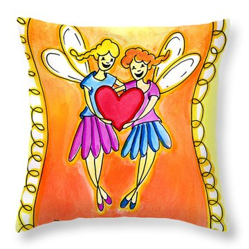 Throw Pillow featuring the mixed media Friends Forever by Nada Meeks