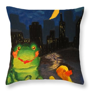 Throw Pillow featuring the painting Frog And Duck Go To The Bog City By Way Of The Lake by M Zimmerman