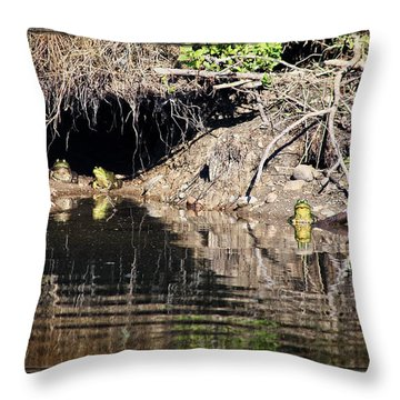 Frog King's Court Throw Pillow