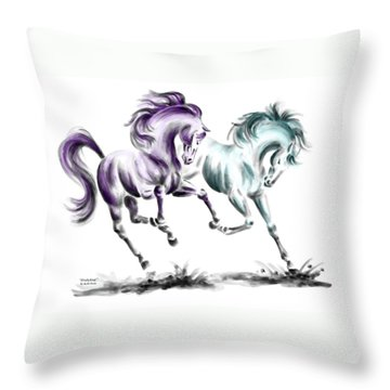 Throw Pillow featuring the drawing Frolicking - Wild Horses Print Color Tinted by Kelli Swan