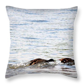 Throw Pillow featuring the photograph Frolicking Fun by Kathy  White
