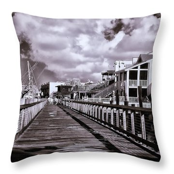 Front Street Boardwalk - Infrared Throw Pillow