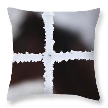Frost Coveredwire Fence And Horse Throw Pillow by Mark Duffy