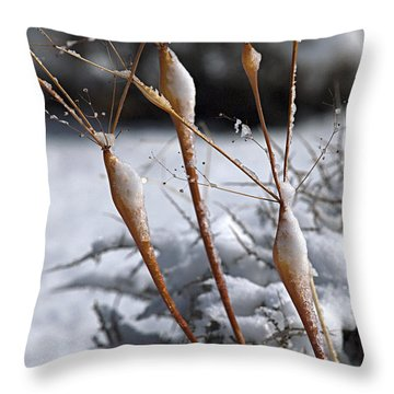 Frosted Trumpets Throw Pillow by Joe Schofield