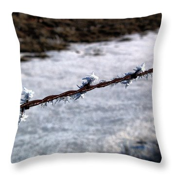 Frosty Barb Wire Throw Pillow
