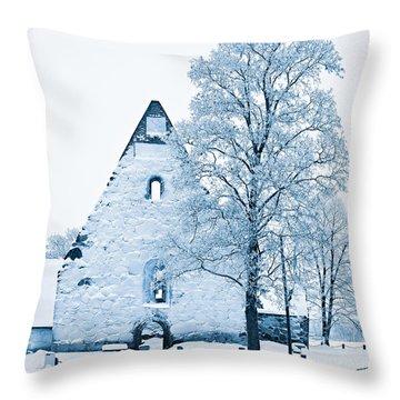Frosty Ruins Throw Pillow