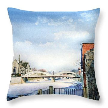 Frozen Shadows On The Grand Throw Pillow by Hanne Lore Koehler