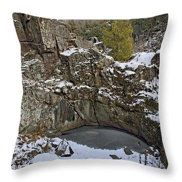 Frozen Sink Hole Throw Pillow by Roderick Bley