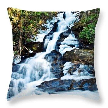 Throw Pillow featuring the photograph Frozen Waterfall by Susan Leggett