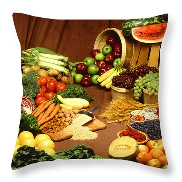 Fruit And Grain Food Group Throw Pillow by Photo Researchers