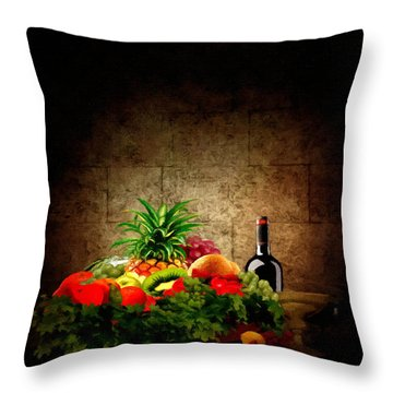 Fruit And Wine Throw Pillow by Lourry Legarde