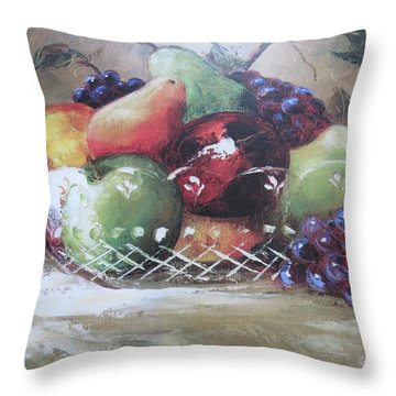 Fruit Still-life  Throw Pillow by Kay Novy