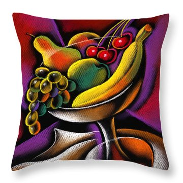 Fruits Throw Pillow by Leon Zernitsky