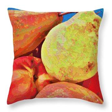 Throw Pillow featuring the digital art Frutbol by Ginny Schmidt