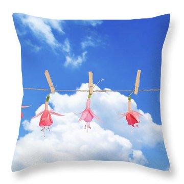 Fuchsia Blooms Throw Pillow by Amanda Elwell