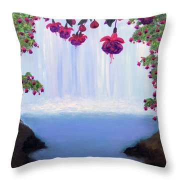Fuchsia Falls Throw Pillow