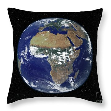 Full Earth Showing Africa And Europe Throw Pillow by Stocktrek Images