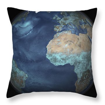 Full Earth Showing Evaporation Throw Pillow by Stocktrek Images