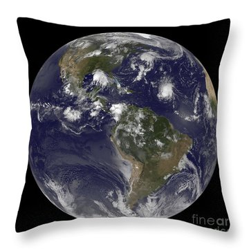 Full Earth Showing Tropical Storms Throw Pillow by Stocktrek Images