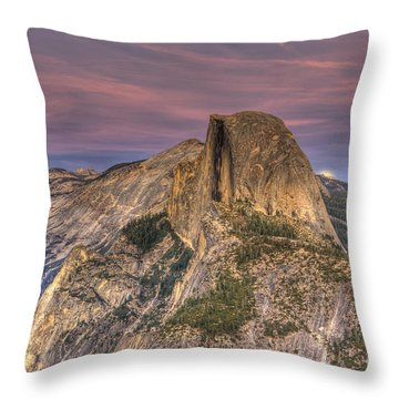 Full Moon Rise Behind Half Dome Throw Pillow by Jim And Emily Bush