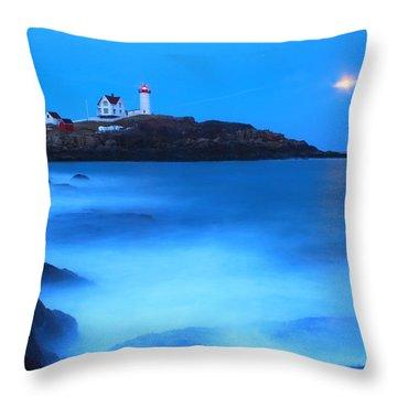 Full Moon Surf Cape Neddick Nubble Lighthouse Throw Pillow by John Burk