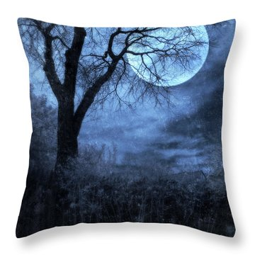Full Moon Through Bare Trees Branches Throw Pillow by Jill Battaglia