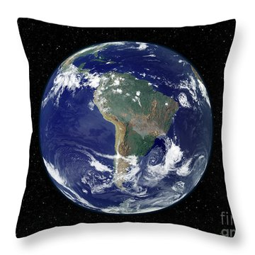 Fully Lit Earth Centered On South Throw Pillow by Stocktrek Images