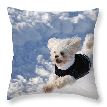 Fun In The Snow Throw Pillow