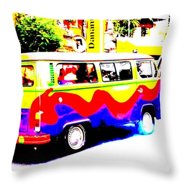 Funky Bali Bus  Throw Pillow by Funkpix Photo Hunter