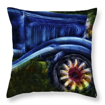 Funky Old Car Throw Pillow by Susan Candelario