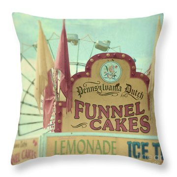 Funnel Cakes Throw Pillow by Sylvia Cook