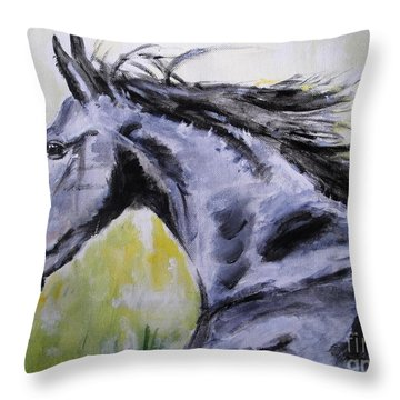 Throw Pillow featuring the painting Fury by Judy Kay