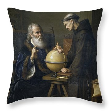 Galileo Galilei Demonstrating His New Astronomical Theories At The University Of Padua Throw Pillow by Felix Parra