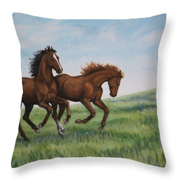 Throw Pillow featuring the painting Galloping Horses by Penny Birch-Williams