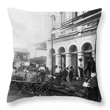 Galveston Flood - September - 1900 Throw Pillow by International  Images